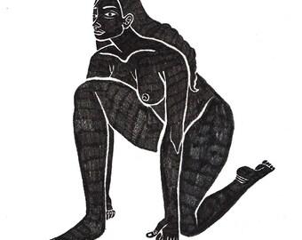 Vivekāsana Illustration, digital print.