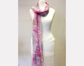 Pink butterfly silk scarf
