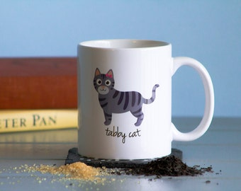 Tabby Cat Mug (gray - girl)