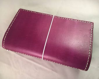 Violet planner/traveler's notebook,  handmade leather journal cover in all sizes, Pocket, Personal, Regular, A6. A5