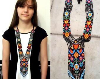 bead necklace  gerdan fringe necklace necklace seed bead,  bead loom necklace, Long necklace,   native american style, bird necklace