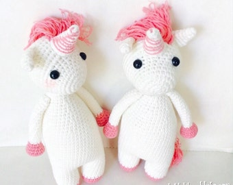Crochet Plush Unicorn with Pink Tail, Twin Girl Plush Unicorn, Amigurumi Plush Unicorn, Unicorn Birthday Gift, Crochet Unicorn, Unicorn Gift