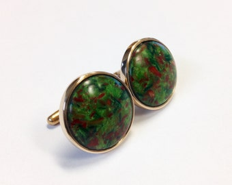Crushed Lime Cufflinks set in Bronze