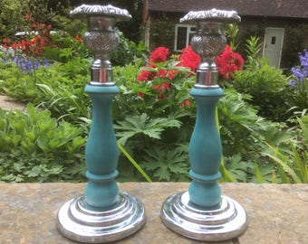 Hand Painted vintage candle stick holders