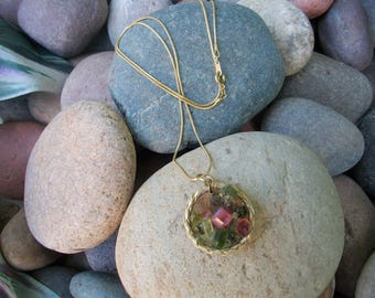 Handmade , Hand Mined, Watermelon tourmaline Pendant Necklace!! Stunning!