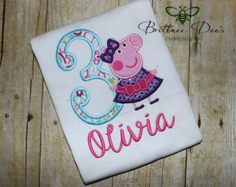 Girl Pig Birthday Shirt