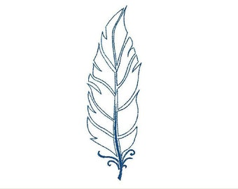 Machine embroidery design color line feather