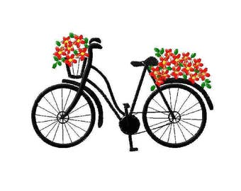 Machine embroidery design bicycle with flowers