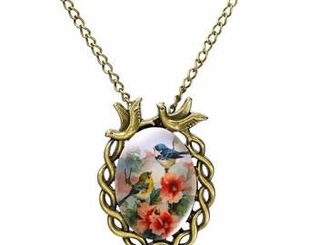 Retro Birds Necklace Bronze Pendant - Elegant Gift Box
