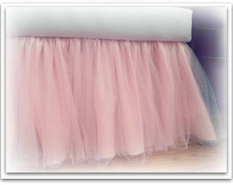 Princess Blush Pink Taffeta & Tulle 3 Layer Crib Skirt with 2  layers of  Tulle! Tutu Ballerina style skirt - Many Colors! Any length!