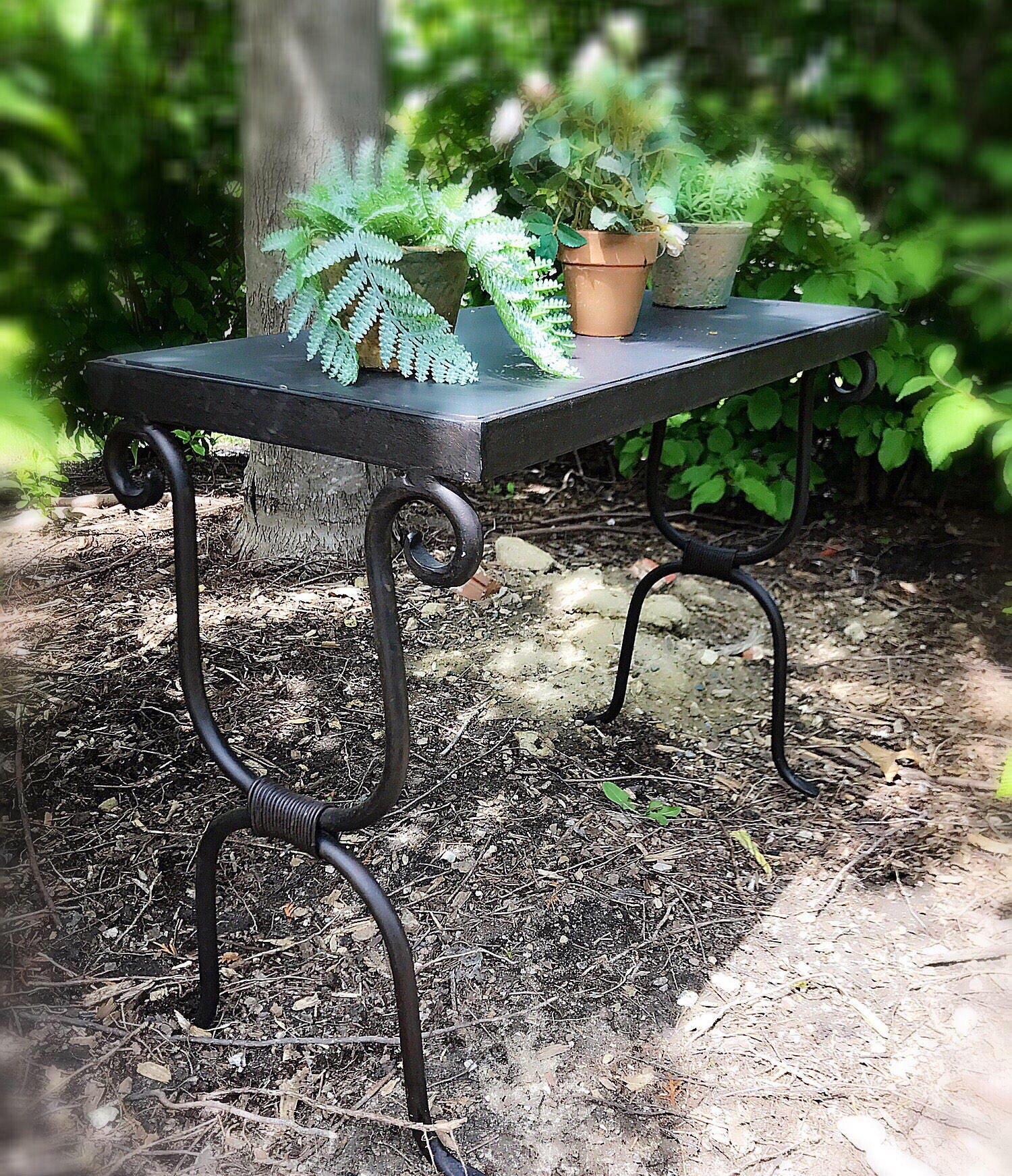 Vintage Black Wrought Iron Bench Rustic Bench Iron Plant