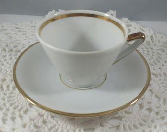 Demitasse cup and saucer, Bavaria demitasse teacup and saucer, Gold gilded teacup set, Winterling Bavaria bone China, vintage teacup set