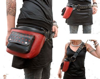 Rino-bag red lolailo. Bag and pouch two in one. Alternative designs.