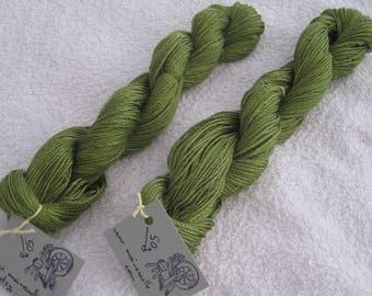 Silk yarn, hand spun, pure silk, hand spun silk, mulberry silk, green, green silk yarn, silk, dyed yarn, dyed silk, yarn, green dyed yarn