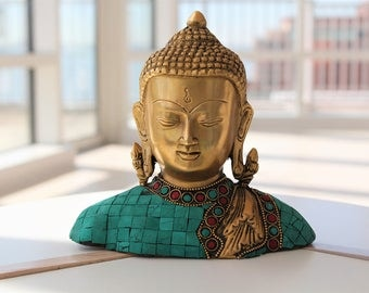 Face of Buddha Statue - Brass Buddha Statue - Intricate Carving on Brass - Meditating Buddha - Zen Statue - Buddha Art - Buddha Figurine
