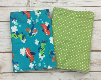 Airplane Burp Cloths - Personalized Baby Burp Cloth Set - Boy Baby Shower Gift - Airplane Baby Theme