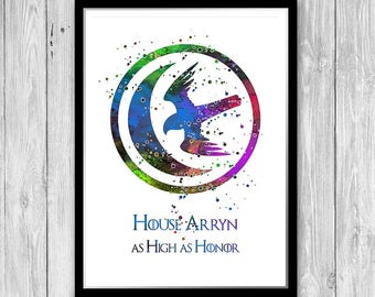 House Arryn watercolor print Game of Thrones poster Game of Thrones Art Print Wall Decor Game of Thrones watercolor Print on Textured paper