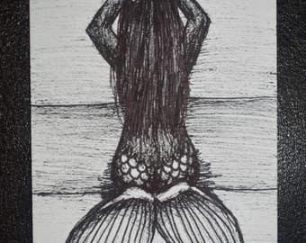 Gorgeous Black Mermaid original drawing