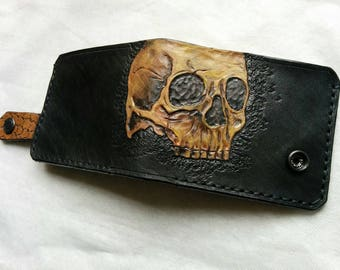 Men's 3D Genuine Leather Wallet - Custom wallet - Skull wallet - Personalized wallet - Handmade Painted - Skeleton - Hand Carved - Armenian