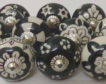 Black Color MultiDesign Ceramic Door Knobs Handpainted Ceramic Knobs Kitchen Cabinet Knobs Drawer Knobs Ceramic Pumpkin Knobs
