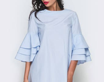 Summer dress light blue Cotton dress casual wear Midi dress short sleeve Spring knee-length dress Light pink Women's dress sleeves volant