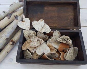 Wooden Heart, Rustic Heart, Large Birch Bark Heart,Birch Bark Heart,Wedding Heart Decoration,Heart Confetti,Natural Bark Heart, Birch Hearts