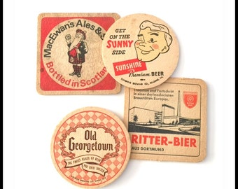 Vintage Beer Coasters - Old Red Pub Coasters