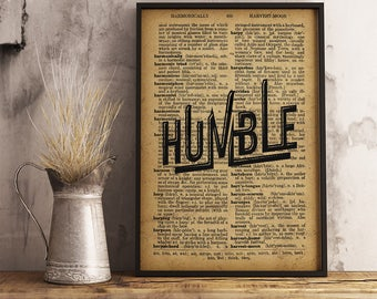Humble Print Rustic Wall Art decor primitive country, Dictionary Typography Art Office Decor, Rustic decor village house Humble lyric 1FM08