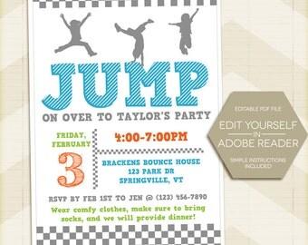 JUMP Party Birthday Invitation, trampoline, Bounce party Invite 5x7 - digital printable editable PDF Edit yourself in Adobe Reader girl boy