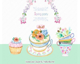 Clipart: Watercolor Spring party Image. Flower clipart. tea party clipart. Watercolor Floral Image. elegant clipart. Watercolor logo.