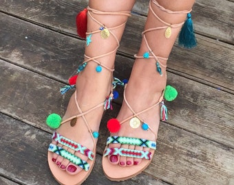 Pom Pom Sandals ''Tahitian Paradise'', Tie Up Boho Sandals, Greek Leather Sandals