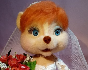 Chipmunk Bride - Needlefelted ~20cm
