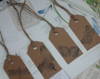gift labels,luggage labels,printed labels,scrapbooking labels,butterfly labels,stamped labels,hand stamped labels,brown kraft labels,labels