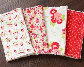 Ruby Bundle, baby girl burp cloths, burp cloth set, floral burp cloths, red white pink burp cloths, Valentine's baby, baby girl, baby gift