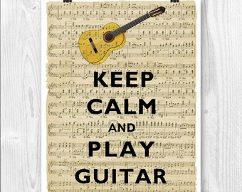 Guitar art Keep Calm Art, Keep Calm Print, Keep calm play guitar, Guitar Print, Keep calm gift for musicians, Gift for guitar players