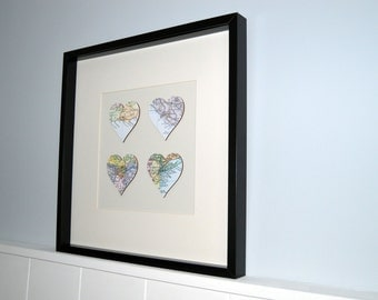 4 Personalised Maps, Wedding Gift, Memory Maps, Heart Maps, Circle Maps, Special Locations, Engagement Gift,