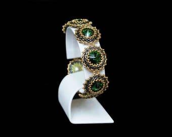 "Bracelet with SWAROVSKI Crystals ""Dark Moss Green"""