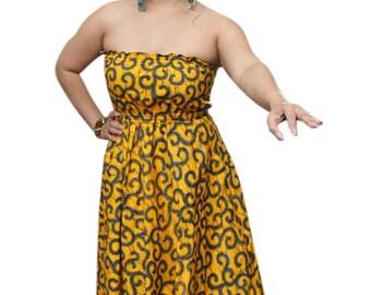 African dress, African print maxi dress, Ankara maxi dress, Yellow maxi dress, African gown, Maxi dress, Yellow and black dress, Women