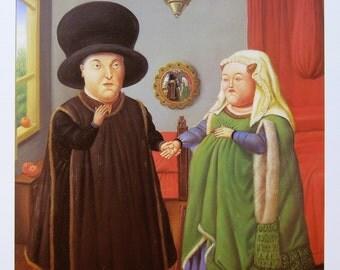 """Fernando Botero  - """"El matrimonio Arnolfini"""" - Offset Lithograph, 1992"""