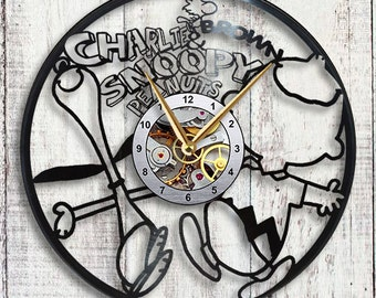 Charlie Brown & Snoopy Vinyl LP Record Wall Clock