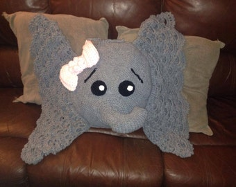 crochet elephant, animal, jungle, cushion/pillow, nursery, toy, ready now for dispatch