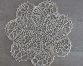 DOILY ECRU lace Crochet 25 cm (Marie)