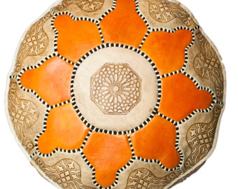 Moroccan Leather Pouffe, Orange Flower Leather Pouf | Leather Ottoman | Leather Footstool | Storage Pouffe | Art Deco Furniture