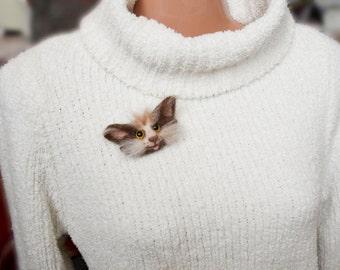 Cat brooch pins Felted cat head Animal brooch Cat lover gift felt animal head Cats pins Animal felt pin Cat brooch Animal head brooch