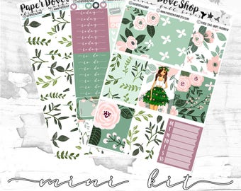 Olivia Mini Kit-- ECLP Vertical Kit, Decorative Stickers, Planner Stickers, Spring/Floral/Leafy  Kit