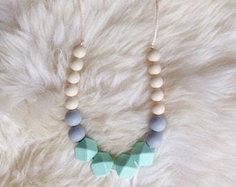 MABEL - Silicone Teething Necklace - Mint, Grey, Cream, Teething Necklace, BPA free, Geometric, Chewelry, Baby Shower Gift, Chew Beads