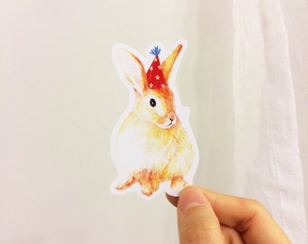 Party With Baby Rabbit Vinyl Stickers, Iphone Stickers, Ipad, Vinyl Sticker, Water Resistant Sticker, Baby Animals
