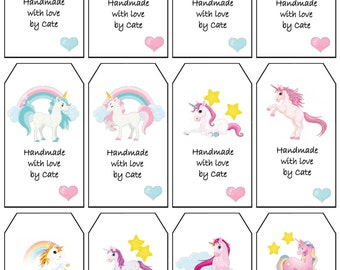 Unicorn Tags Double Sided Small - PDF FILE ONLY