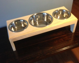 Raised 3 Bowls Pet Feeder,1 (7 cup)and 2(4cup)Handmade Wooden For Dogs