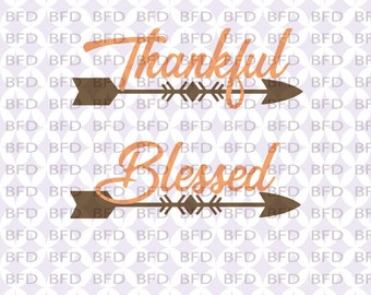 Thankful Blessed arrow svg Fall Thanksgiving Christmas 2 pack Cuttable design file SVG PNG EPS